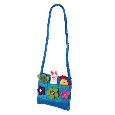 Filz-Handtasche für Kinder Tiere Cyan | Light green