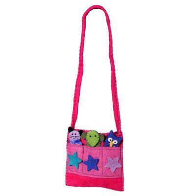 Filz-Handtasche für Kinder Tiere Rosa | Burgundy