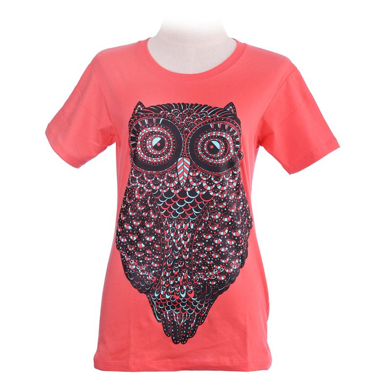 Damen T-Shirt Big Owl Pink