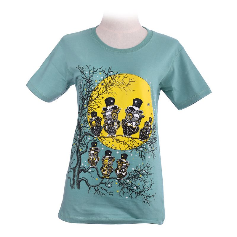 Damen T-Shirt Full Moon Green