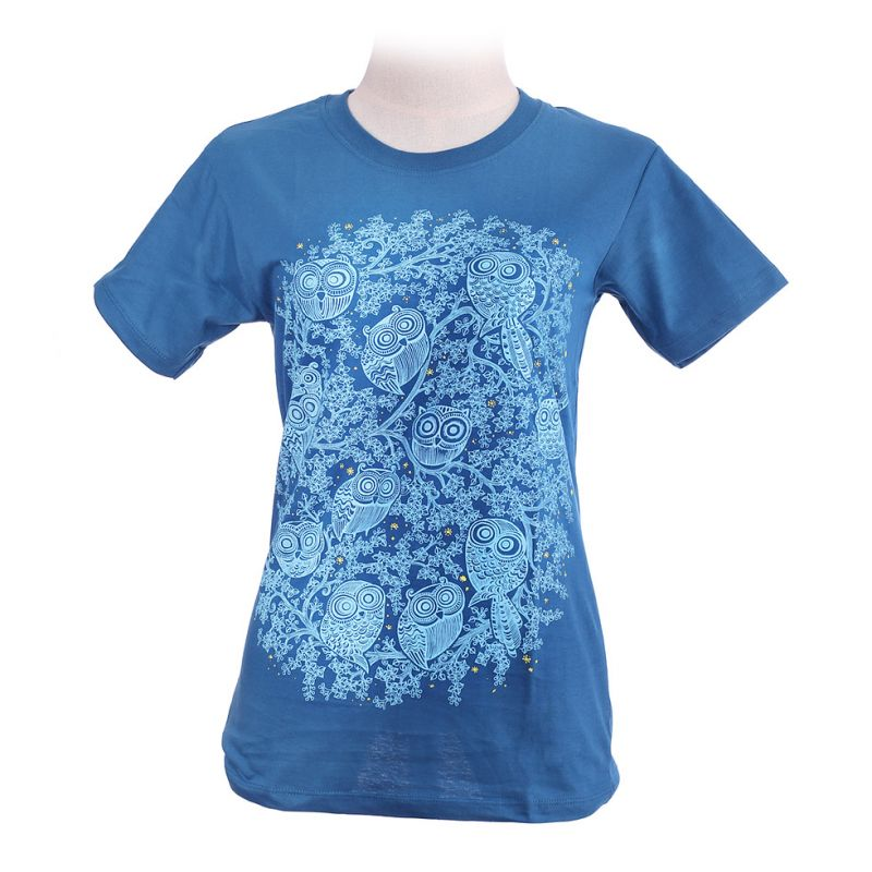 Damen T-Shirt Twelve Owls Turquoise
