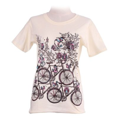 Damen T-Shirt Bicycles Light Yellow
