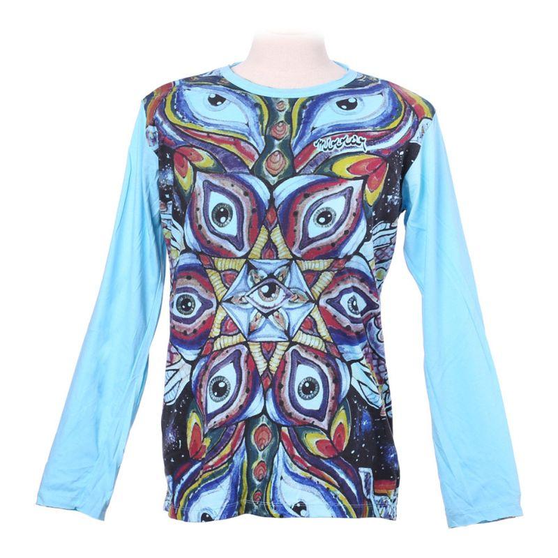 Mirror T-Shirt mit langen Ärmeln - Eye Mandala Turquoise