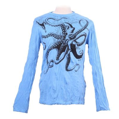 T-shirt Octopus Attack Turquoise - long sleeve