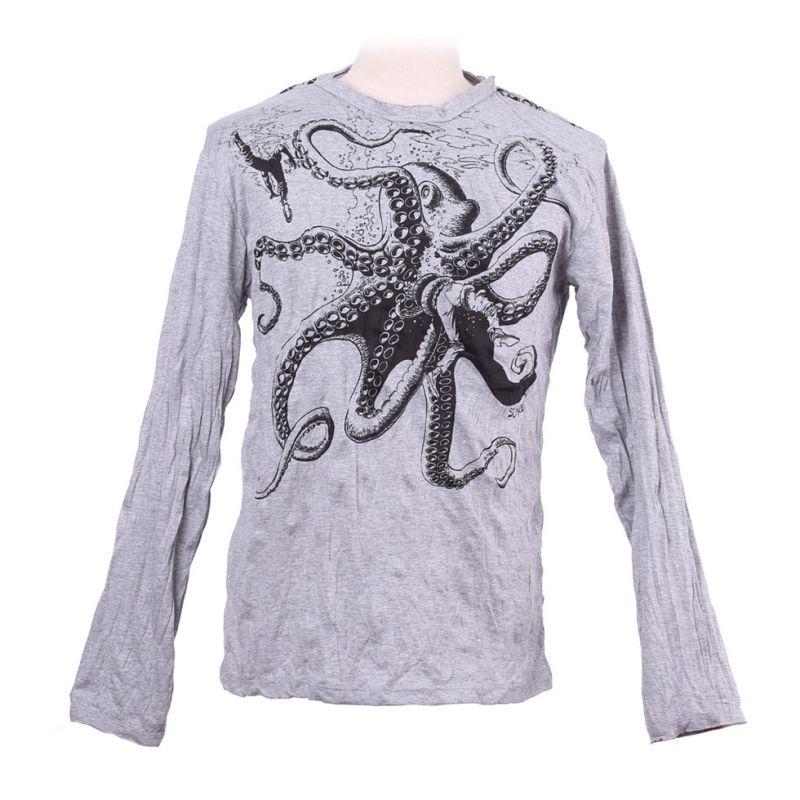 Herren T-shirt Sure mit langen Ärmeln - Octopus Attack Grey