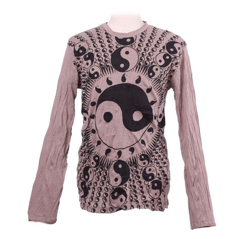 Herren T-shirt Sure mit langen Ärmeln - Yin&Yang Brown